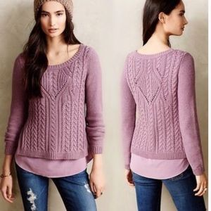 Anthropologie Moth Cabled Ella Layered Sweater XS